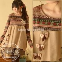 Fashion New winter long-sleeved cute T-shirt japanese mori lolita cawaii shirt national trend stitching bow basic T-shirt