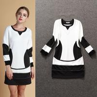 Plus Size Women Cheap Clothing Contrast Color Casual Women Autumn Dresses Long Sleeve Female Vestidos Free Shipping WA4266