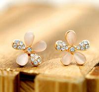 Fashion Cute Cat Eye Stone Five Flower Earrings Rhinestones Five Star Earrings For Women