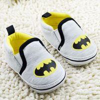 Drop Shipping New batman Baby boys shoes Grey cartoon new born Toddler shoes Soft Sole Baby prewalker Infant wear 0-18M