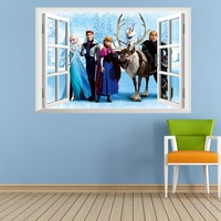 Trade new winter colors of the window background of kindergarten kids room bedroom waterproof removable wall stickers