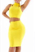 Beauty online  2014 New Sexy Autumn dress Vestidos 2Pcs Yellow Slim Cut Out Sleeveless High Waist Knee-Length Dress Set  LC21805