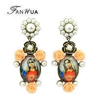 India Orecchini Orange Resin Rose Flower Simulated Pearl Figure Dangle Element Earrings Fashion Designer Brincos for Women