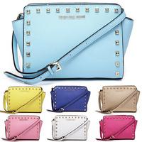 2014 summer new original leather bag cross pattern cowhide leather handbag shoulder bag rivets