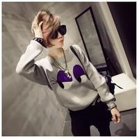 new 2014 women autumn winter casual long sleeve pullover cotton Big eyes long sleeve hoody o neck  outwear vogue  AZ136