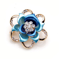 New Fashion Jewelry 18K Gold Plated Newest Colorfull Flower Brooch Pin 5colors available