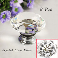 NEW 8X40mm Diamond Crystal Glass Door Knobs Drawer Cabinet Furniture Kitchen dib Free shipping