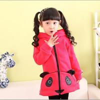 In-Stock/2014 New Girl outerwear autumn winter fleece children hoodies sweater baby jackets 4-6-8-10-12 Years Panda coat