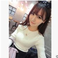 new 2014 women female autumn winter casual long sleeve pullover cotton long sleeve o neck outwear vogue sweaters slim  AZ140
