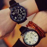 Fashion Brand 2014 New Black White Silicone Big Dial Free Shipping Men Luxury Quartz Wristwatch Men Christmas gift Watch