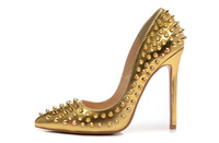 Free shipping gold zapatos mujer rivets high heel shoes red sole women pumps genuine leather spike high heels sapato feminino