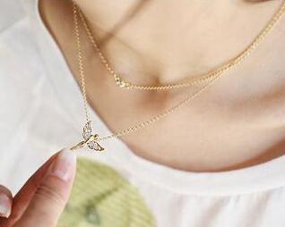 x318 Jewelry 2014 Wholesale Fashion Rhinestone Angel Womens Pearl Pendant Necklace free shipping