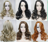 Elegant Long Wavy Capless Synthetic hair Wig 6 colors for you choose free shipping