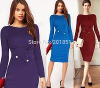 2014 European Brand Fashion Autumn Winter Women Elegant Bowknot Button Slim Long Sleeve Celebrity Bodycon Work Evening Dresses