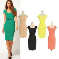 2014 Fashion Ladies Elegant Celebrity Sexy Dress Slim Knee-Length Party Bodycon Dresses for work office Shortsleeve Pencil Dress