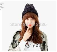 2014 NEW Fashion Women winter warm hat Colorful graffiti twist knitted caps 1 pcs/lot multicolor