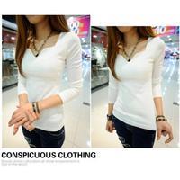 2013 new fashion  pullover women thread cotton V-neck petals long sleeve shirt basic t-shirt top designer t shirt blouses W52