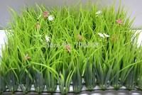 Artificial plastic long jungle grass mat boxwood mat with flower wedding garden decoration 12inch*12inch
