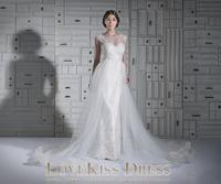 Vestido De Novia Cap Sleeve Sheer Scoop Neck Beaded Lace Mermaid Tulle Long Arabic Wedding Gowns Dresses 2015