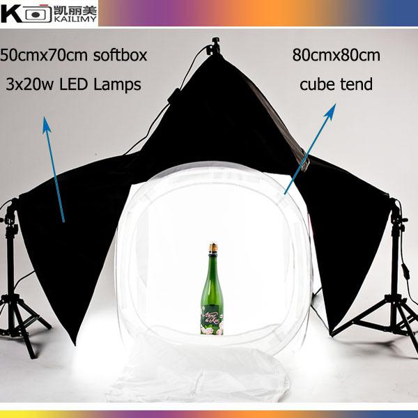 Hot selling Photography studio 3 pcs 50x70cm SoftBox Lighting Kit and 60cm cube tent Photography Studio Equipment Set(China (Mainland))