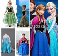 Retail 1 pc (3-10Yrs) children kids baby girl's Princess Dress New Frozen Elsa ANNA dress cosplay Costume dresses Drop shipping