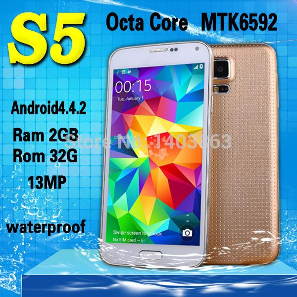 "Impermeabile s5 telefono mtk6592 i9600 telefono octa core 2gb ram rom 32gb 1,7 GHz android4.4 OS 5.1"" 16MP sv g900 cellulare"