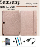 New Luxury Gold Silk  Flip PU Leather Stand  Cover Case For Samsung Galaxy Note 10.1 P600/P601+ Screen Protector + Stylus + OTG