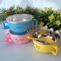 Free shipping Baby stainless steel bowl spoon with handle baby stainless steel bowl child products tableware