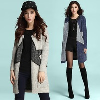 Free Shipping 2014 New Star studded High-end Fashion Mohair Casual Knit Sweaters In Winter Long Casual Thick Sweater Coat