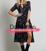 Spain Desigual Wholesale Clothing Ladies New Arrival 2014 Desigual Women Fashion Black Short Sleeve Floral Print Split Dress