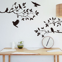 The bedroom and living room fine wall stickers The black birds and branches vinilos paredes P3