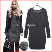 2015 New Casual Inside Plus Velvet Size Black Dark Grey Blue O-Neck Long Sleeve Winter Dress For Women Dresses