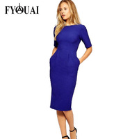 FYOUAI New Fashion 2014 Women Dress Fashion Slim Solid Simple Evenning Dress Seven sleeves Casual Base Winter Party Dress
