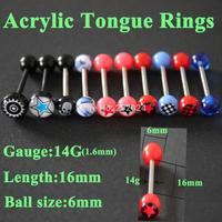 20pcs/lot wholesale acrylic plastic logo tongue rings body piercing jewelry