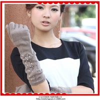Korean fashion knitted wool long paragraph full finger gloves