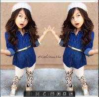 Free shipping,2014 new children's clothing fashion female child denim shirt leopard print legging long-sleeve set 7sets/lot