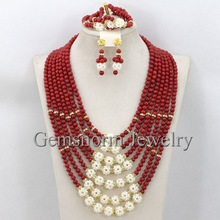 2015 Latest Fashion Red Coral Beads Wedding Jewelry Set Luxury Bridal Necklace Jewelry Set Handmade Free