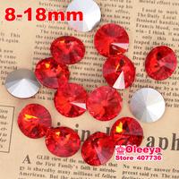 All Sizes Light.Siam Color Rivoli Round Rivoli Shape Point Back Crystal Fancy Stone For Garments Casual Dresses Free Shipping