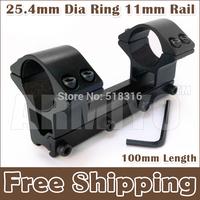 Armiyo 25.4mm Dia Ring 11mm Rail Mount 100mm Length Universal See-through Type Flashlight Sight Scope Fixed Mount Free Shipping