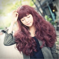 Free shipping wig long curly hair wigs woman wig wine red color Cosplay wig 4-color