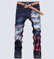 men color Print stretch Jeans pants mens denim printed pants straight leg calsa male casual rock jeans
