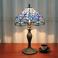 Beautiful Dragonfly Tiffany Style Stained Glass Table Lamp Lustre Handmade Lampshade Antique Bedroom Bedside Lamp Light Fixtures