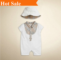 0-3M Summer 2014 retail high quality 100% cotton baby girl set brand clothing.baby hat + romper suit jumpsuits overall
