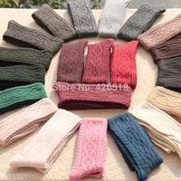 11 Colors Women's Girl's Loose Socks Plaid Pattern Knit Winter Thicken Warm Woollen Over Knee High Socks Jacquard