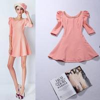 Hot Sale European Style Women Cute Beading Dresses Puff Sleeve Black/Pink Autumn Dress Femininos Mujer Free Shipping W22841