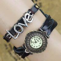 New 2014 Brand YULAN Fashion Vintage Style Watch Women Leather Watch Love Story Tower Dress Quartz Watches