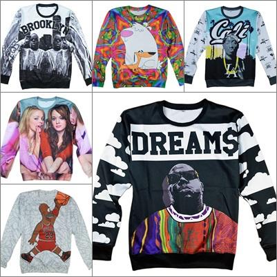 Alisister new fashion men/women's Biggie smalls/Tupac/Alice/skull flower sweatshirt 3d print mens pullover hoodies hip hop shirt(China (Mainland))