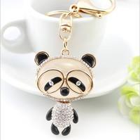 Manufacturers selling new cute panda Rhinestone Keychain animal zodiac Pendant car key bag