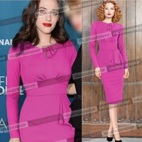 2014 Hot Selling New High End Fashion Autumn Winter Women Elegant Knee-Length Celebrity Bodycon Pencil Party Evening Dresses