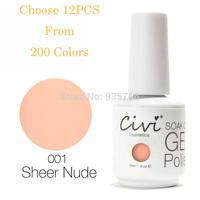 (Choose 12)Civi Soak Off Gel Polish 30 Days Long Lasting 200 Gorgeous Colors The Best UV Nail Gel Polish